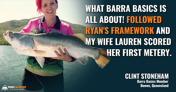 Wife catches big barra